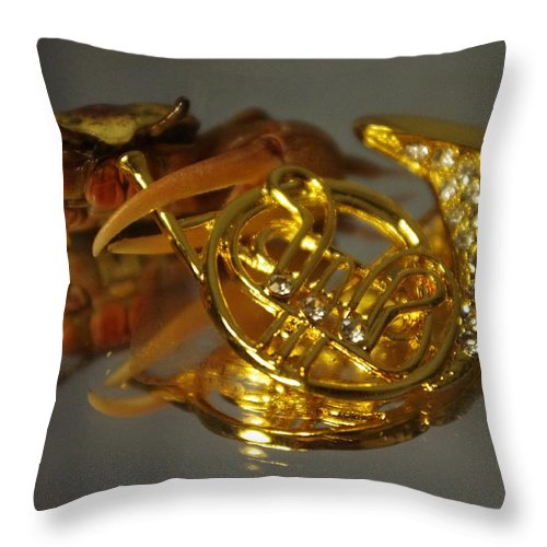 Throw Pillow featuring the photograph Crab Play Horn by Gerald Kloss