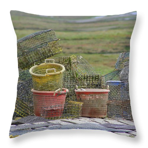 Crab Pots Throw Pillow featuring the photograph Crab Pots And Baskets by JoJo Photography