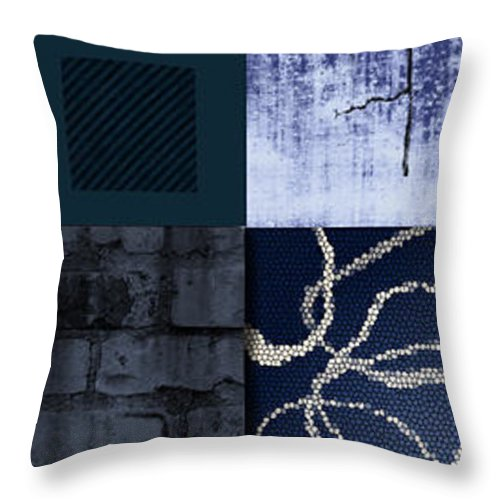 State Of Mind Dimension Cracked Fantasy Mystery Person Textures Design Composition Artwork Abstract Real Blue Soothing Colors Patterns Wall New Modern Style Stripes Contemporary Urban Fusion Decor Decorative Graphic Illustration Interior Material Muted Natural Throw Pillow featuring the painting Cracked by Ramneek Narang