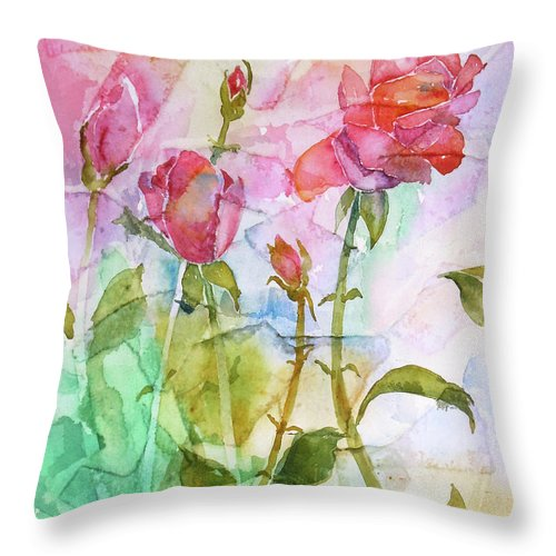 Rose Throw Pillow featuring the painting Cracklin' Rose by Renee Chastant
