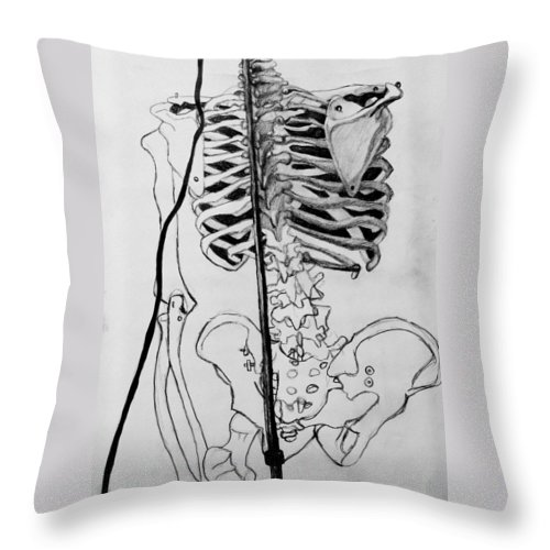 Bone Throw Pillow featuring the drawing Crackling Bones by Jean Haynes