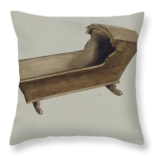 Throw Pillow featuring the drawing Cradle by Albert Gold