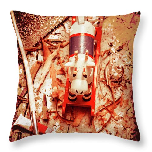 Xmas Throw Pillow featuring the photograph Crafting Christmas Presents by Jorgo Photography - Wall Art Gallery