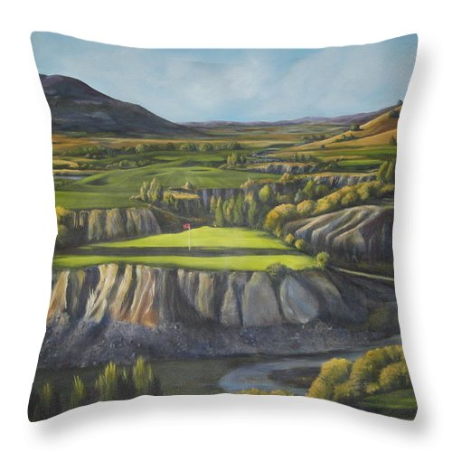 Golf Throw Pillow featuring the painting Craig's Course by Melody Horton Karandjeff