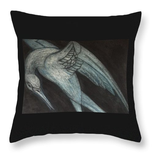 Logo. Crane Throw Pillow featuring the drawing Crane by Laurie S Auth