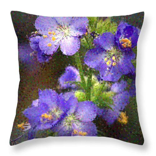 Flowers Throw Pillow featuring the photograph Craquelure On Blue by Deborah Benoit