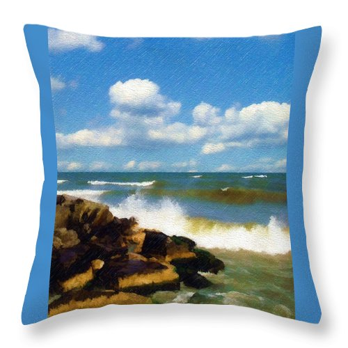Seascape Throw Pillow featuring the photograph Crashing Into Shore by Sandy MacGowan