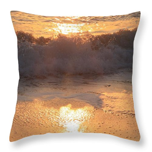 Waves Throw Pillow featuring the photograph Crashing Wave At Sunrise by Nadine Rippelmeyer