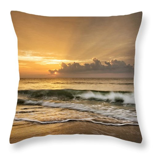 Waves Throw Pillow featuring the photograph Crashing Waves At Sunrise by Greg Mimbs