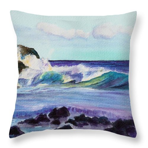 Kauai Art Throw Pillow featuring the painting Crashing Waves by Marionette Taboniar
