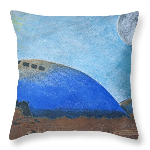 Pastel Throw Pillow featuring the pastel Crashlanding by M Valeriano