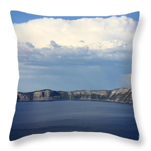 Clouds Throw Pillow featuring the photograph Crater Lake by Carol Groenen