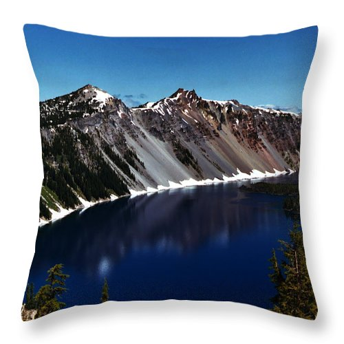 Crater Lake Throw Pillow featuring the photograph Crater Lake by Peter Piatt