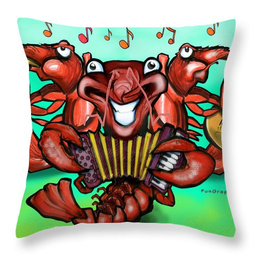 Crawfish Throw Pillow featuring the greeting card Crawfish Band by Kevin Middleton