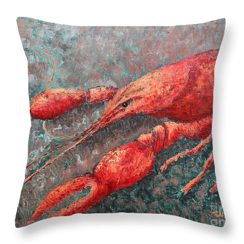 Animal Throw Pillow featuring the painting Crawfish by Todd Blanchard