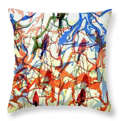 Birds Throw Pillow featuring the digital art Crazy Cardinals by Shelley Jones
