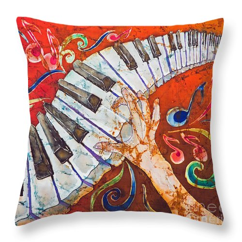 Piano Throw Pillow featuring the tapestry - textile Crazy Fingers - Piano Keyboard by Sue Duda