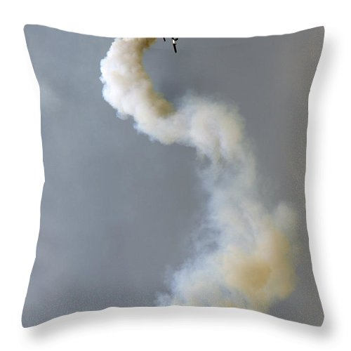 Frecce Tricolori Throw Pillow featuring the photograph Crazy Flight by Angel Ciesniarska