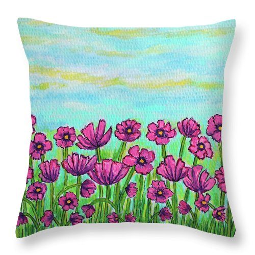 Cosmos Throw Pillow featuring the painting Crazy for Cosmos by Lisa Lorenz