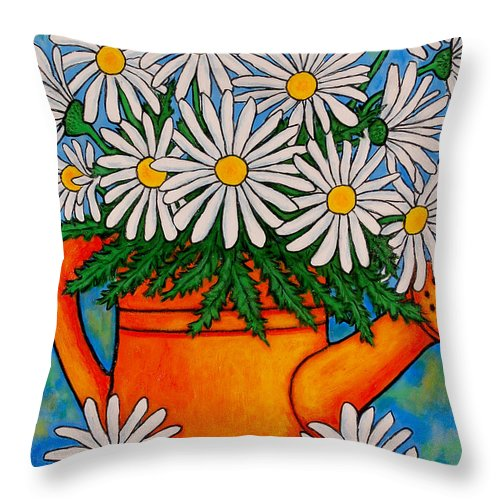 Daisies Throw Pillow featuring the painting Crazy For Daisies by Lisa Lorenz