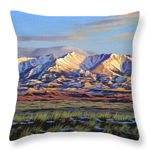 Mountains Throw Pillow featuring the painting Crazy Mountains-Morning by Paul Krapf
