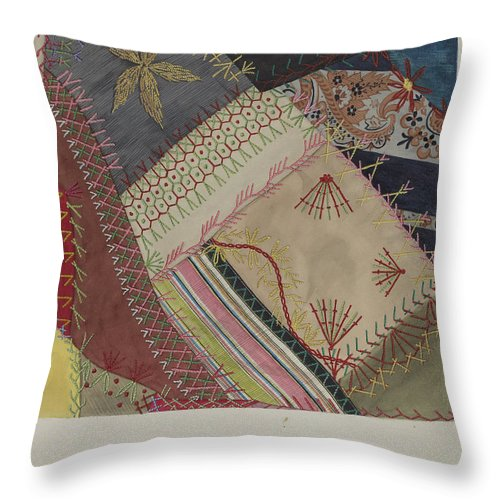 Throw Pillow featuring the drawing Crazy Quilt (detail) by Edith Towner