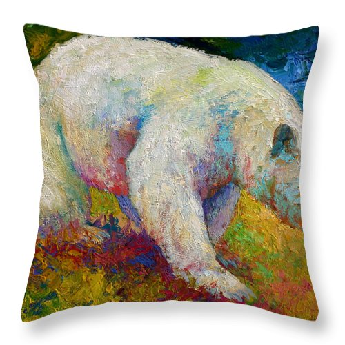 Western Throw Pillow featuring the painting Creamy Vanilla - Kermode Spirit Bear Of Bc by Marion Rose