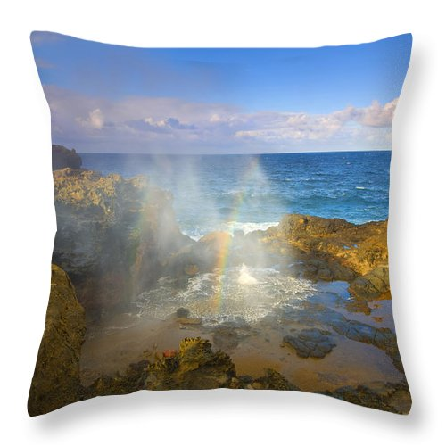 Blowhole Throw Pillow featuring the photograph Creating Miracles by Mike Dawson
