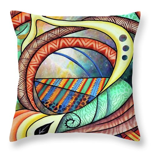Abstract Throw Pillow featuring the painting Creation II by Marcella Muhammad