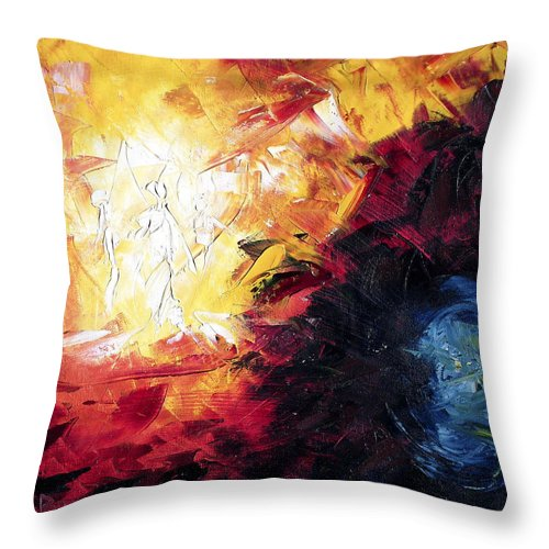 Abstract Throw Pillow featuring the painting Creation by Lewis Bowman