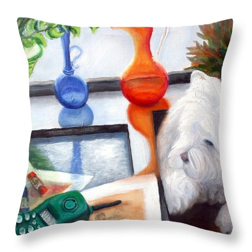 Dog Throw Pillow featuring the painting Creative Reflections by Minaz Jantz