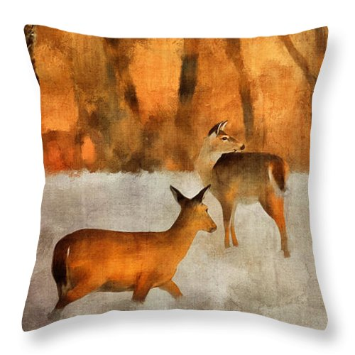 Deer Throw Pillow featuring the digital art Creatures Of A Winter Sunset by Lois Bryan