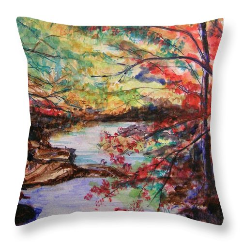 Creek Throw Pillow featuring the painting Creek Blue Ridge Mountains by Lizzy Forrester