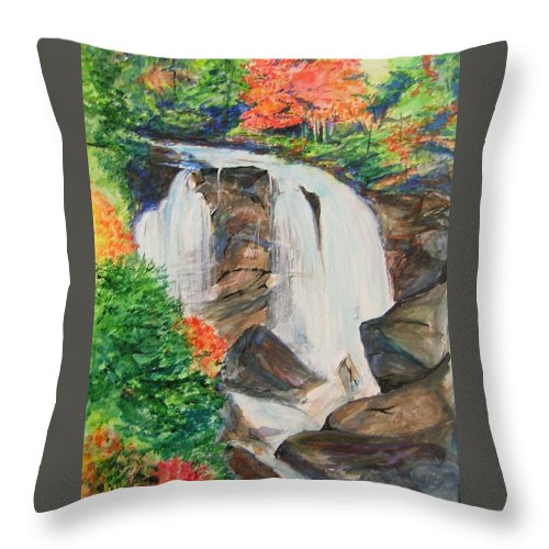 Creek Throw Pillow featuring the painting Creek In Autumn by Lizzy Forrester