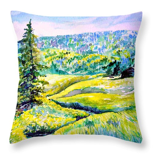 Arkansas Creek And Cottage Throw Pillow featuring the painting Creek To The Cabin by Joanne Smoley