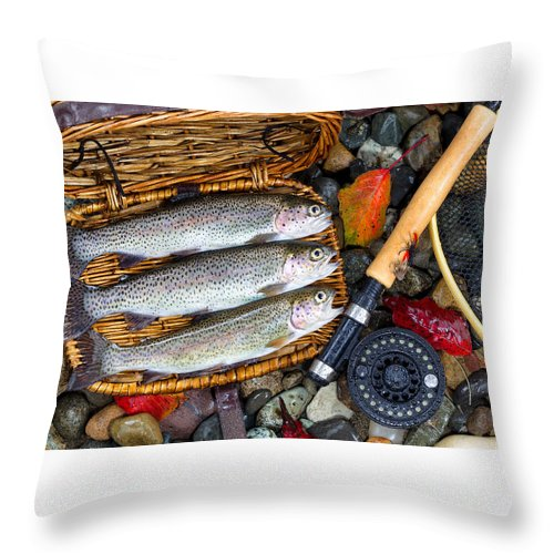 Trout Throw Pillow featuring the photograph Creel With Native Trout by Thomas Baker
