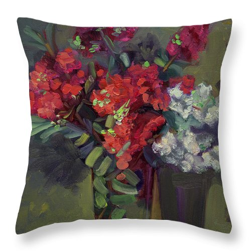 Floral Throw Pillow featuring the painting Crepe Myrtles In Glass by Lilibeth Andre