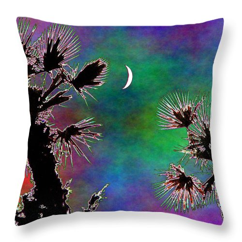 Moon Throw Pillow featuring the photograph Crescent And Palms 2 by Tim Allen