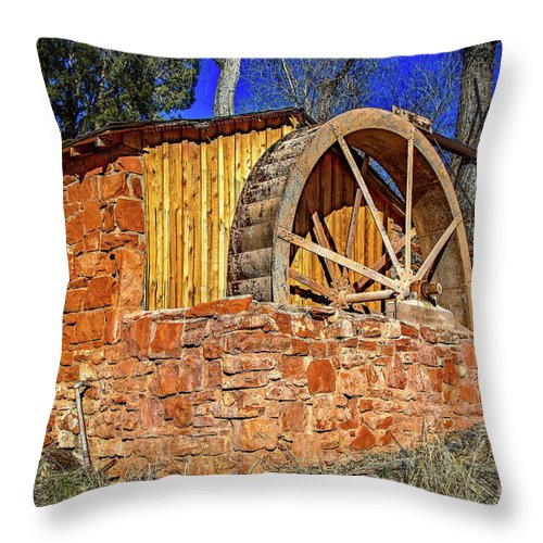 Jon Burch Throw Pillow featuring the photograph Crescent Moon Ranch Water Wheel by Jon Burch Photography