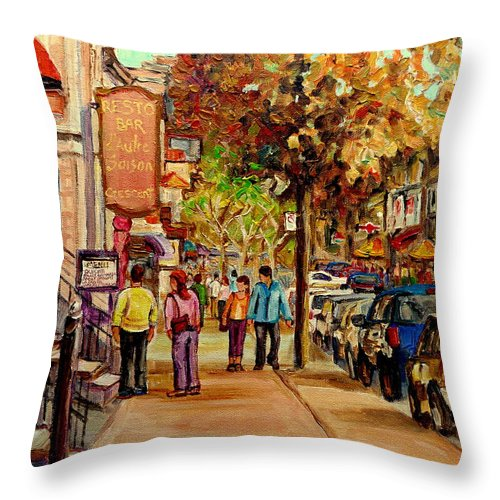 Montreal Streetscenes Throw Pillow featuring the painting Crescent Street Montreal by Carole Spandau