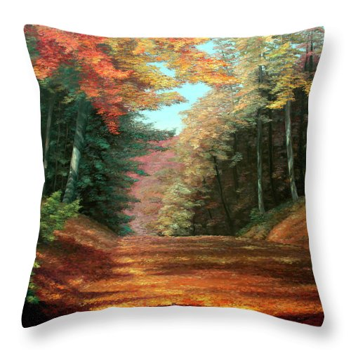 Autumn Woods Throw Pillow featuring the painting Cressman's Woods by Hanne Lore Koehler
