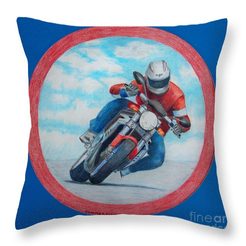 Motorcycle Throw Pillow featuring the drawing Cresting The Hill - Agusta Brutale by Brian Commerford