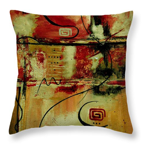 Abstract Throw Pillow featuring the painting Crimson And Copper by Ruth Palmer