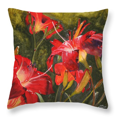 Red Throw Pillow featuring the painting Crimson Light by Jean Blackmer