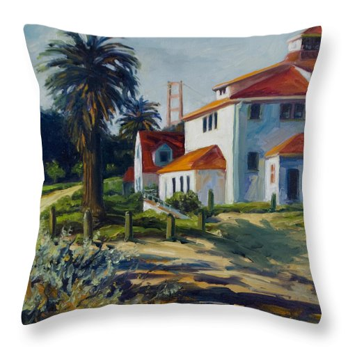San Francisco Throw Pillow featuring the painting Crissy Field by Rick Nederlof