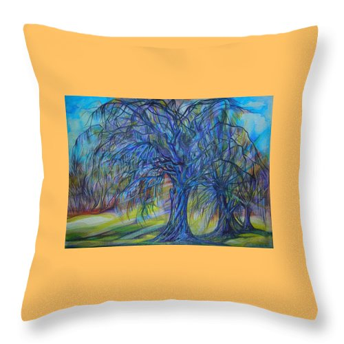 Blue Throw Pillow featuring the drawing Crystal Light by Anna Duyunova