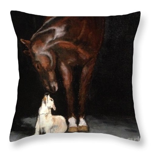 A Moment Shared Between A Horse And His Dog Buddy. Throw Pillow featuring the painting Critter Friends by Diane Donati