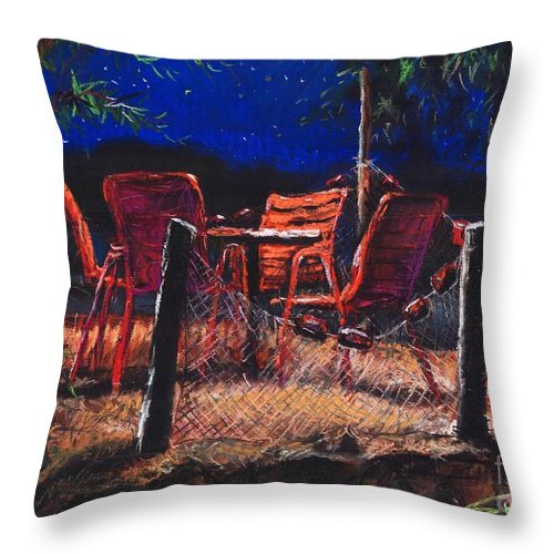 Pastel Throw Pillow featuring the painting Croatia Fisherman Restaurant by Yuriy Shevchuk