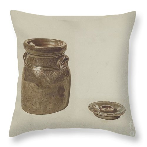 Throw Pillow featuring the drawing Crockery Churn by Margaret Golden