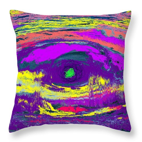 Abstract Throw Pillow featuring the digital art Crocodile Eye by Ian MacDonald